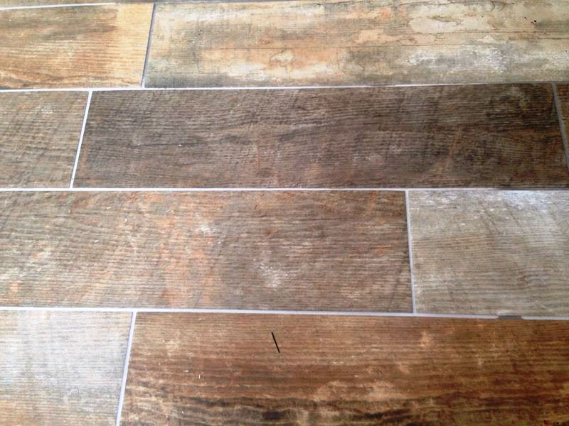 Changing Grout Colour on Wood Effect Tiles in Hull Step 2