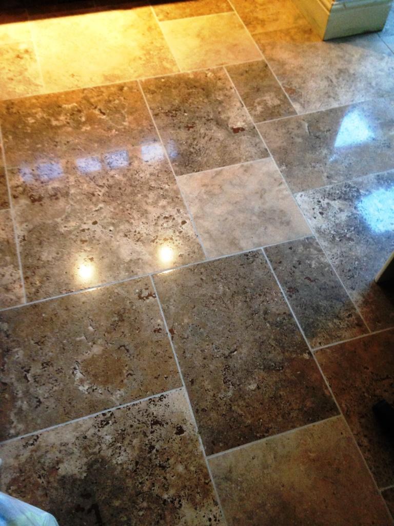 Limestone Tiled Floor Bridlington After Burnishing