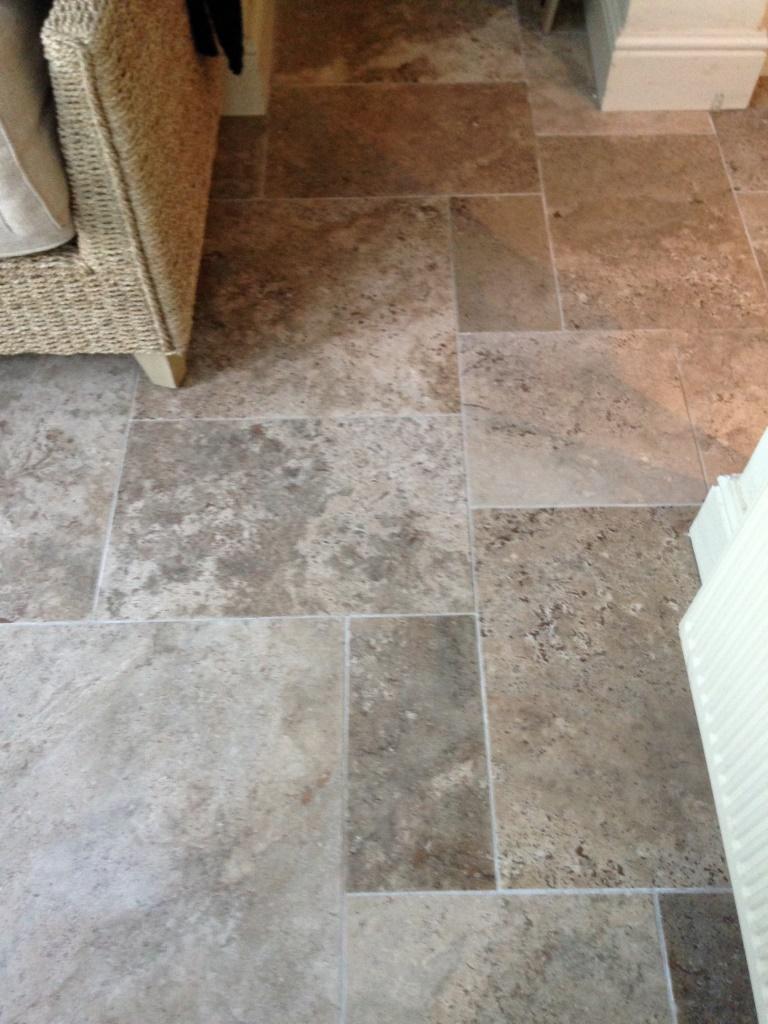 Limestone Tiled Floor Bridlington Before Burnishing