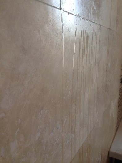 Travertine Wall tiles Before Cleaning Polishing and sealing Hull