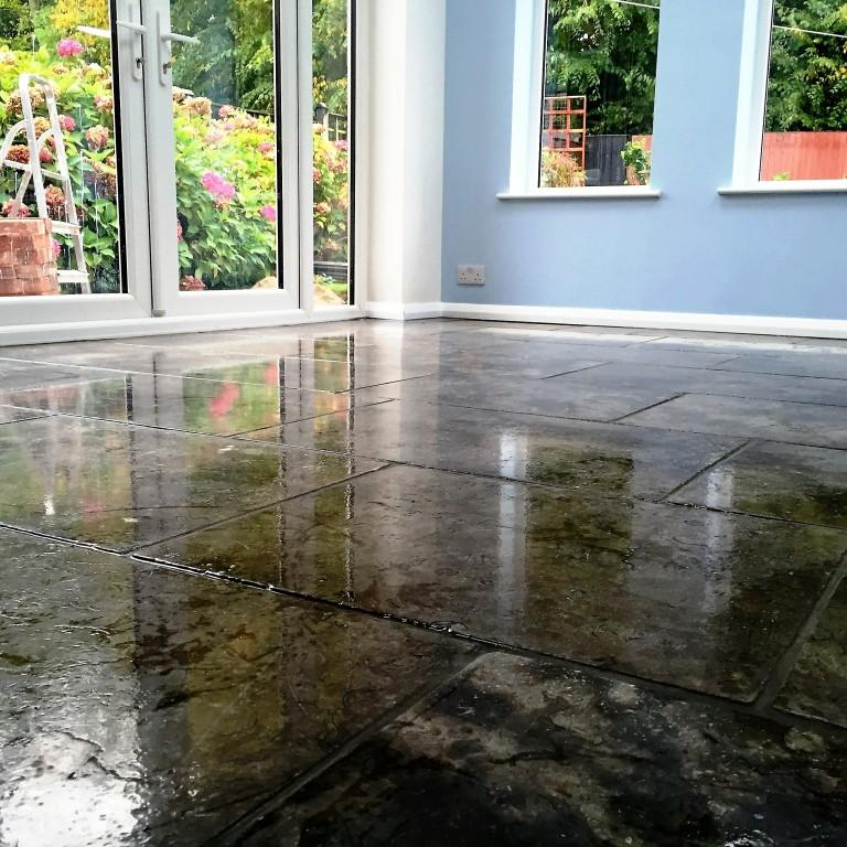Grey Limestone Floor After Cleaning Barton