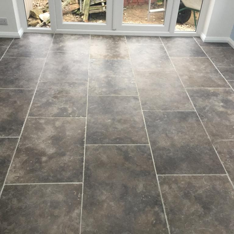 Grey Limestone Floor Before Cleaning Barton