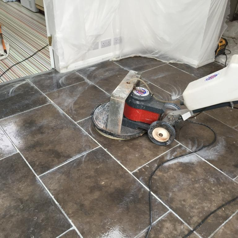 Grey Limestone Floor During Cleaning Barton