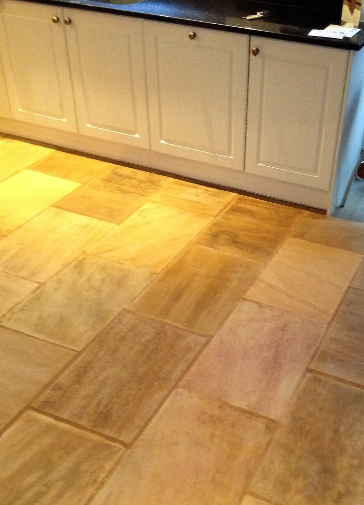 Indian Fossil Sandstone Kitchen Floor After Cleaning Hessle