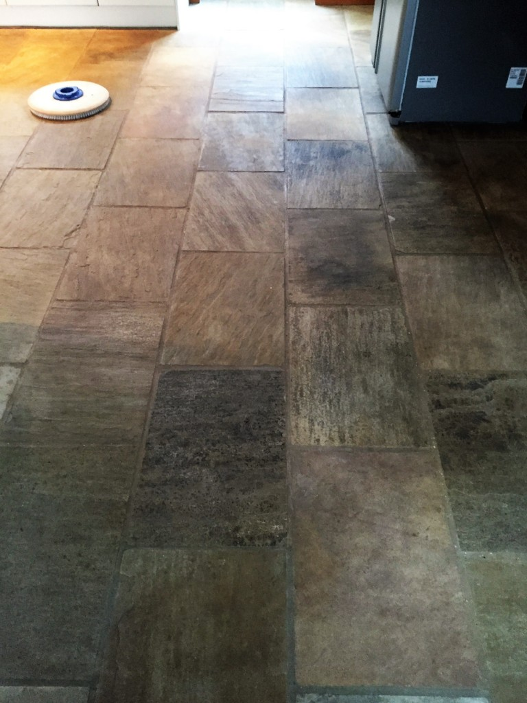 Indian Fossil Sandstone Kitchen Floor Before Cleaning Hessle