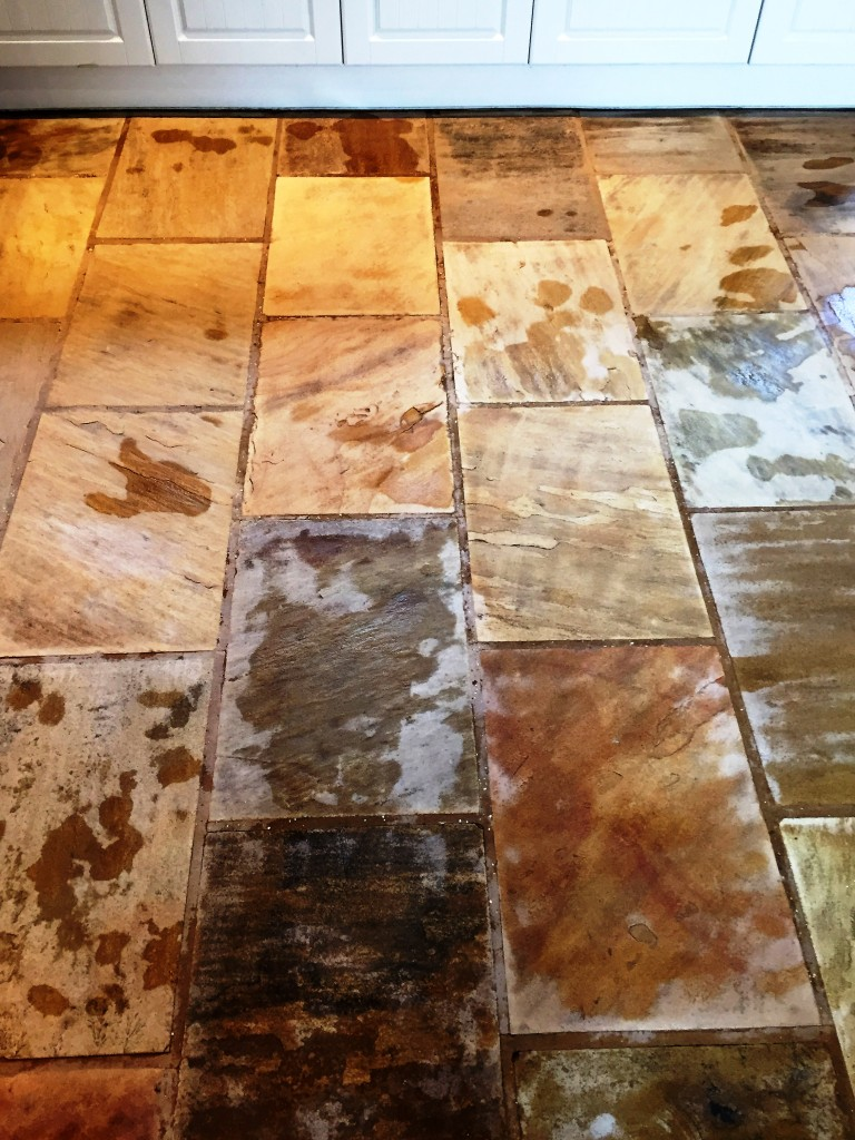 Indian Fossil Sandstone Kitchen Floor During Cleaning Hessle