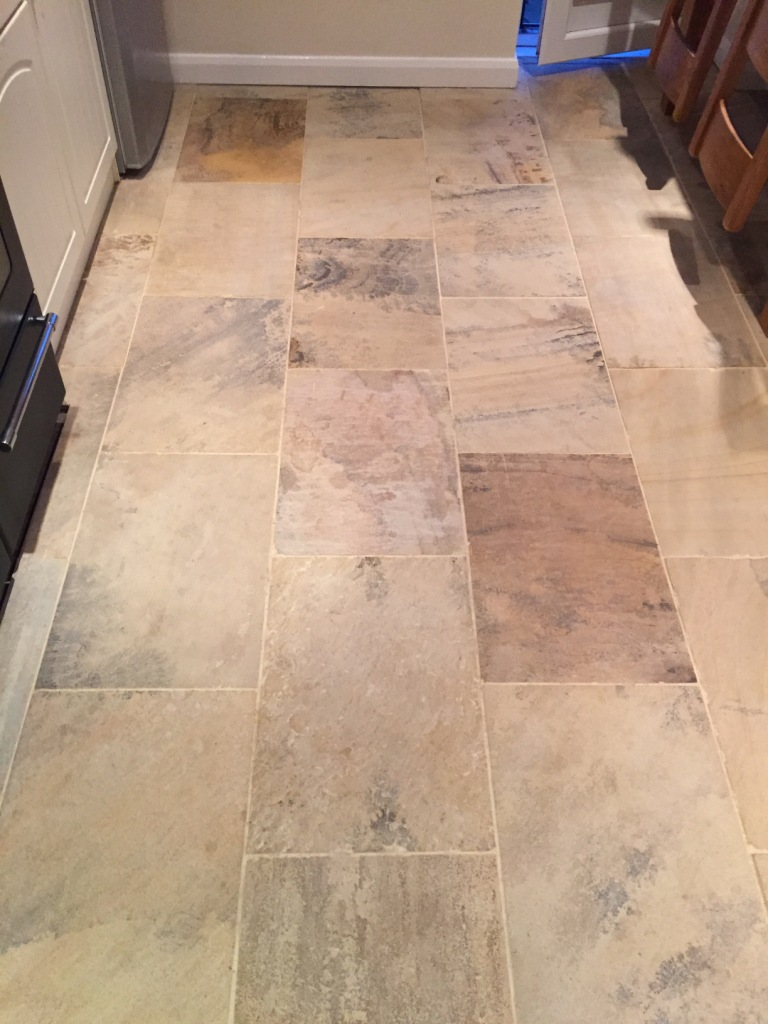 Indian Sandstone Floor Before Cleaning Swanland