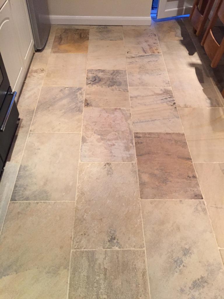 Indian Sandstone Floor Before Cleaning Swanland