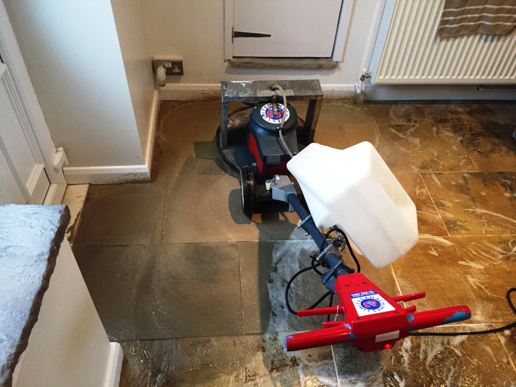 Indian Sandstone Floor During Cleaning Swanland