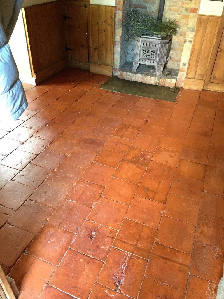 Old Quarry Tiled Floor After Cleaning and Sealing in Market Weighton