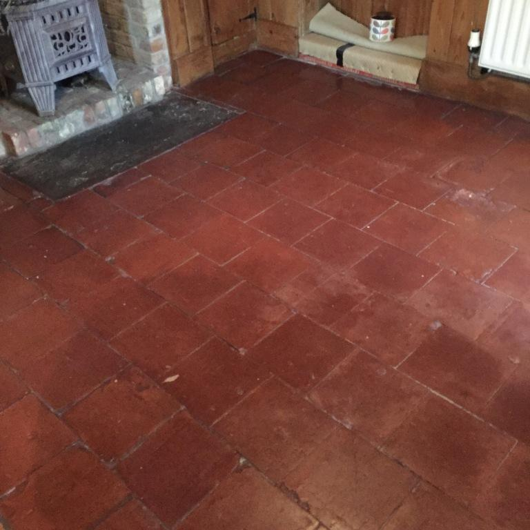 Old Quarry Tiled Floor Before Cleaning in Market Weighton