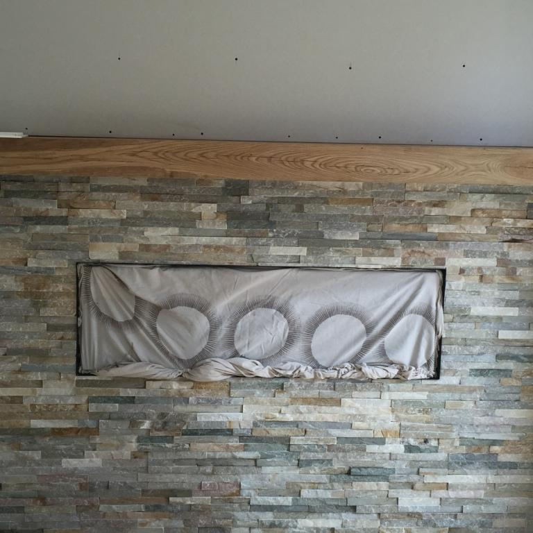 Oyster Slate Fireplace Before Sealing Wawne