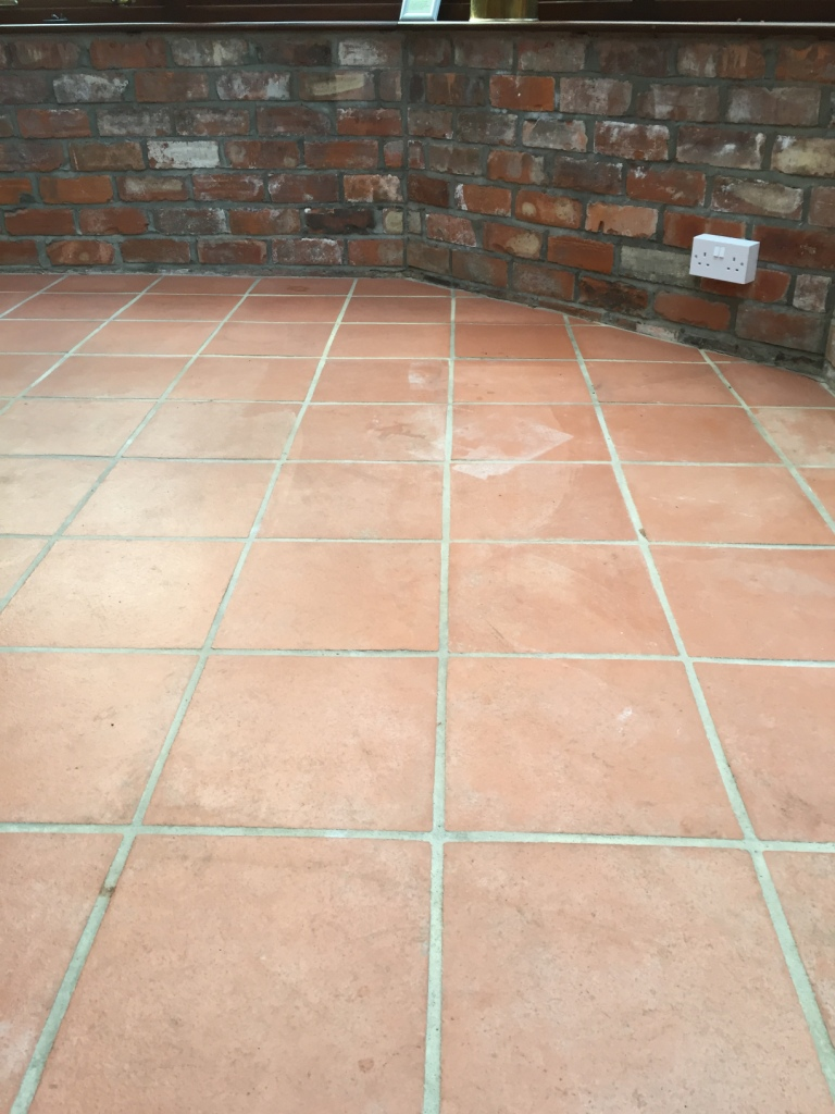 Quarry Tiled Floor Before Cleaning in Hessle Hull