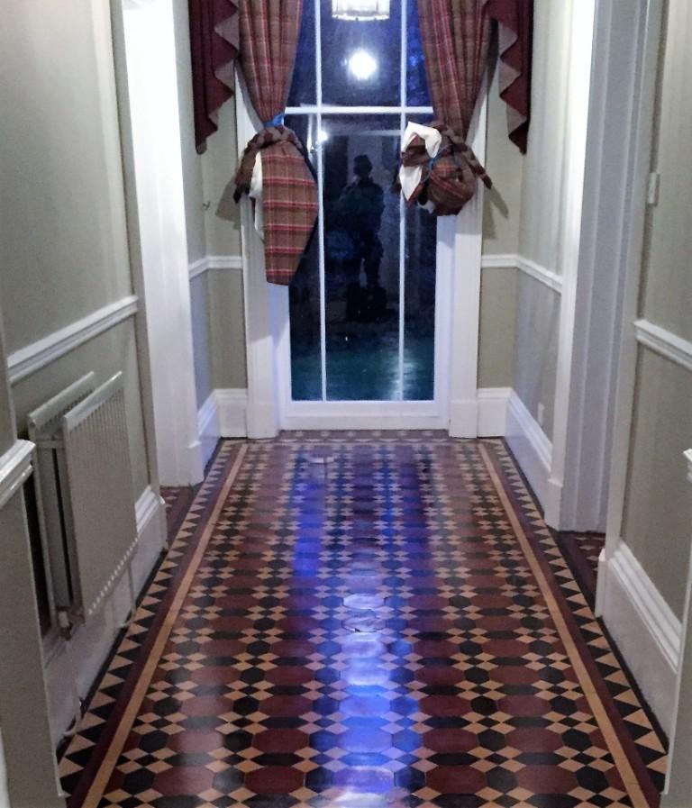 Victorian hallway floor tiles after restoration in Bridlington