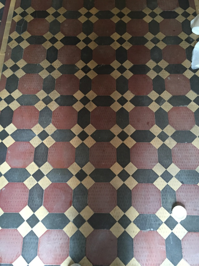 Victorian hallway floor tiles before restoration in Bridlington