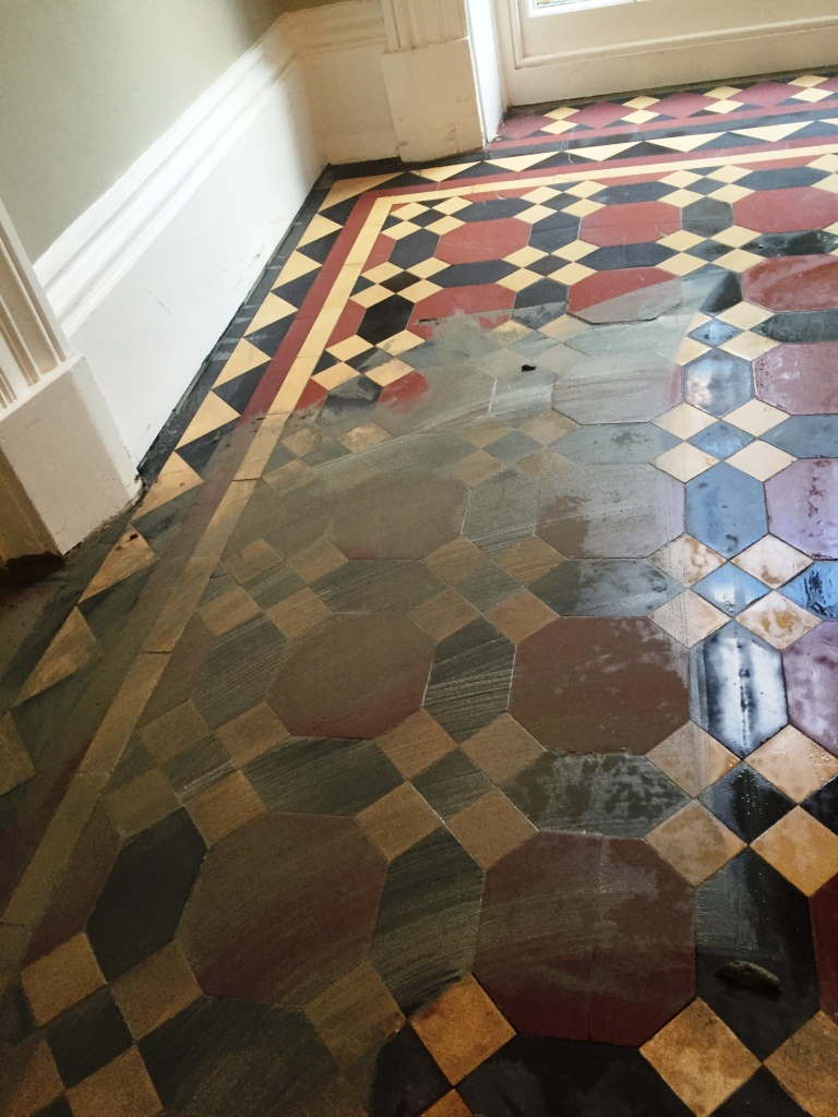 Victorian hallway floor tiles during restoration in Bridlington