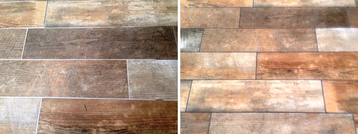 Changing Grout Colour on Wood Effect Tiles in Hull Step