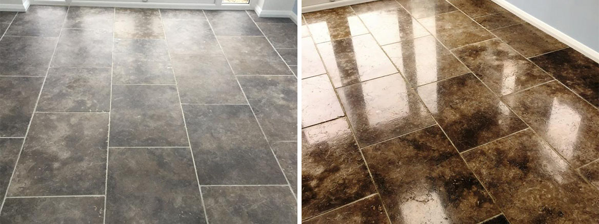 Grey Limestone tiled floor Polished and Sealed in Barton