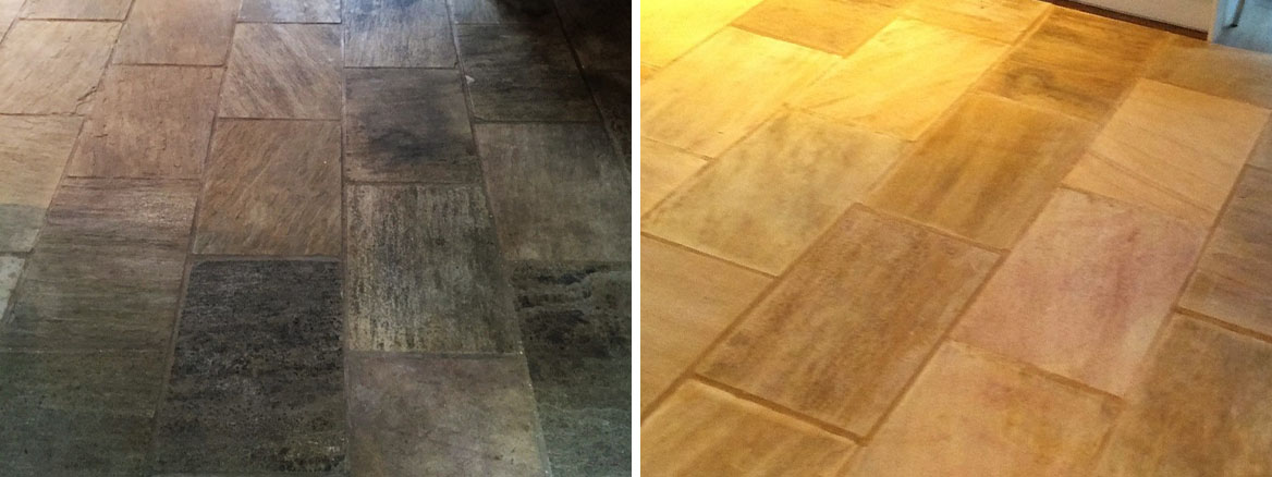 Indian Fossil Sandstone Kitchen Floor Restored in Hessle