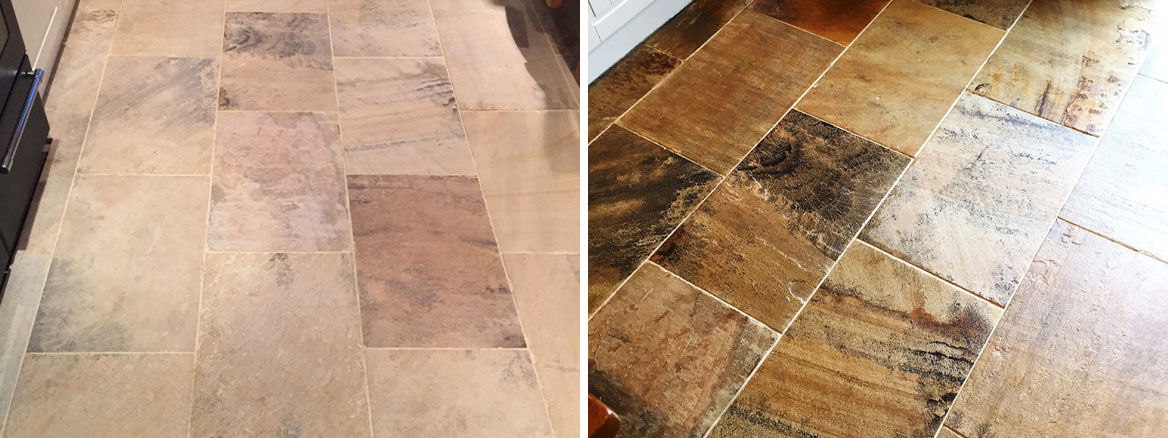 Indian Sandstone Floor Before After Cleaning Swanland