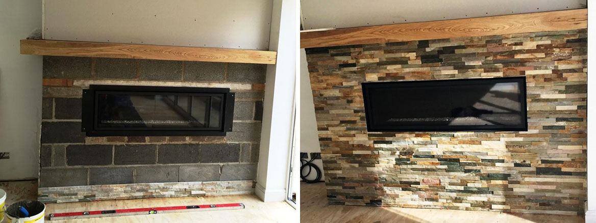 Oyster Slate Fireplace Before After Sealing Wawne