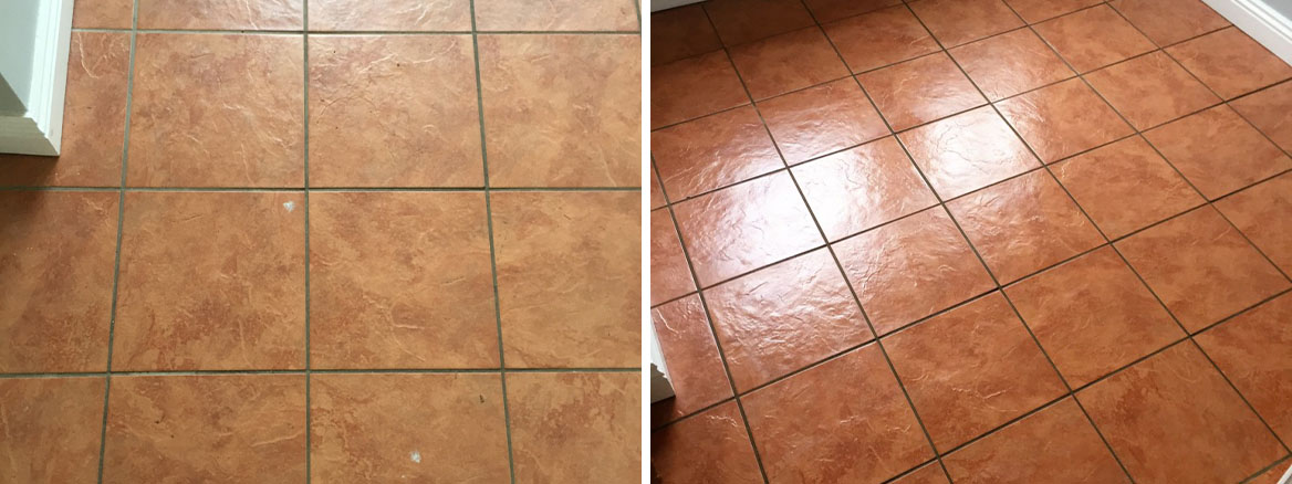 Porcelain Tiled Utility Floor Before After Cleaning and Grout Sealing in Hull