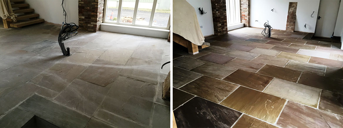Recently Installed Yorkstone Tiles Cleaned and Sealed in Driffield